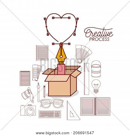 nib design a heart on carton box with set work elements for creative process colorful silhouette with keyboard on white background vector illustration