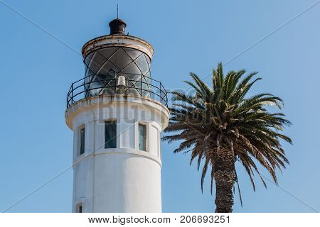 RANCHO PALOS VERDES, CALIFORNIA - JULY 9, 2017:  Lantern room of the Point Vicente Lighthouse, built in 1926 and now owned and operated by the U.S. Coast Guard.