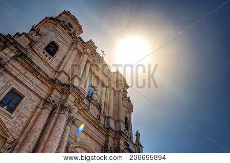Facade of Saint Francis Church in Catania, Sicily Island of Italy