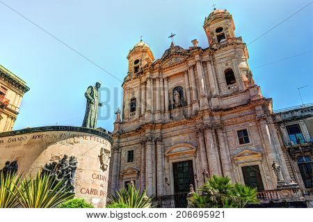 Statue of Cardinal Giuseppe Dusmet in front of Saint Francis Church in Catania, Sicily Island of Italy