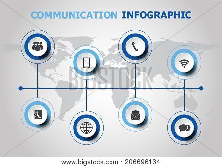 Infographic design with communication icons, stock vector