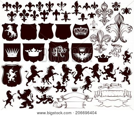 Heraldic collection of shields, silhouettes of lions, griffins and fleur de lis