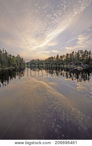 Twilight Reflections in the North Woods on Snipe Lake in the Boundary Waters in Minnesota