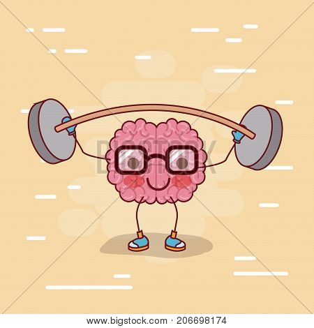brain cartoon with glasses and weightlifting and background beige color vector illustration poster