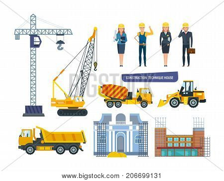 Set of construction technique house. Characters engineers personal construction company, on background of construction buildings, technique, equipment in process. Vector illustration in cartoon style.