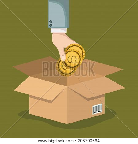 crowd funding poster with hand depositing coins in cardboard box in background olive color vector illustration