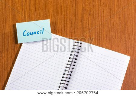 Council; White Blank Documents With Small Message Card.