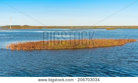 Ebro Delta Estuary And Wetlands, Tarragona, Catalunya, Spain. Copy Space For Text.