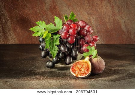 Still Life With Fruits: Grape, Fig In The Antique Copper Tin Cup