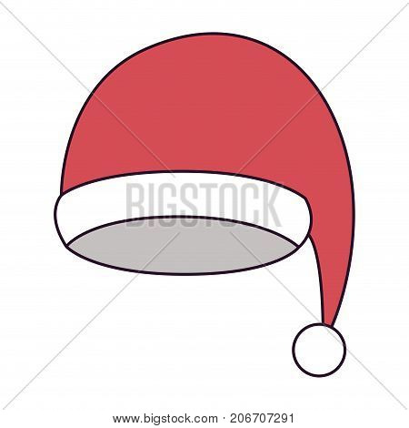 santa claus christmas cap on colorful silhouette vector illustration