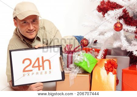 this delivery boy will work on x-mas, just to bring you your gifts in time.