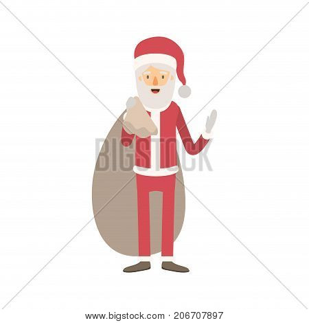 santa claus caricature full body with gift bag hat and costume on colorful silhouette vector illustration