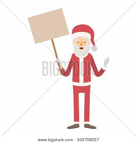 santa claus caricature full body holding a poster with pole with hat and costume on colorful silhouette vector illustration