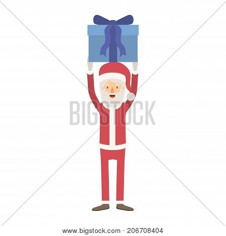 santa claus caricature full body holding up a gift with hat and costume on colorful silhouette vector illustration