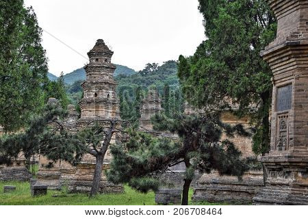 The Pagoda Forest at Shaolin monastery in Henan province in China.