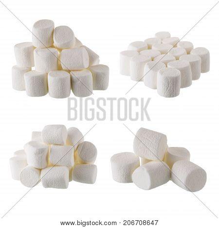 Fluffy White Marshmallow Isolated On White Background