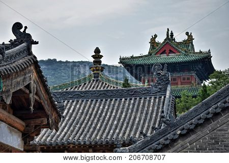 The roofs of the buildings in Shaolin monastery.