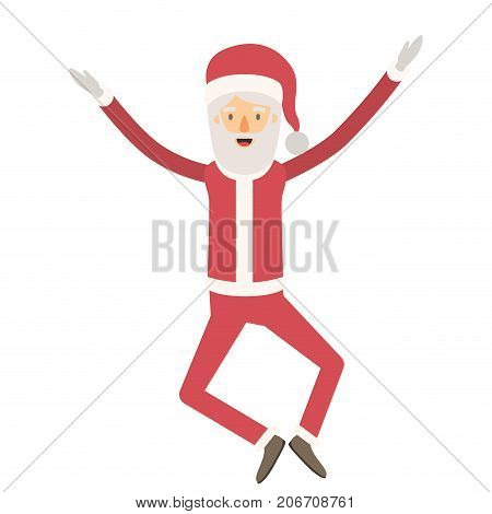 santa claus caricature full body jumping with hat and christmas costume on colorful silhouette vector illustration