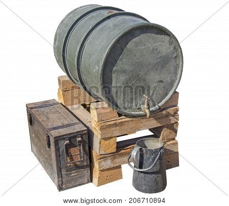 old barrel for water on white background