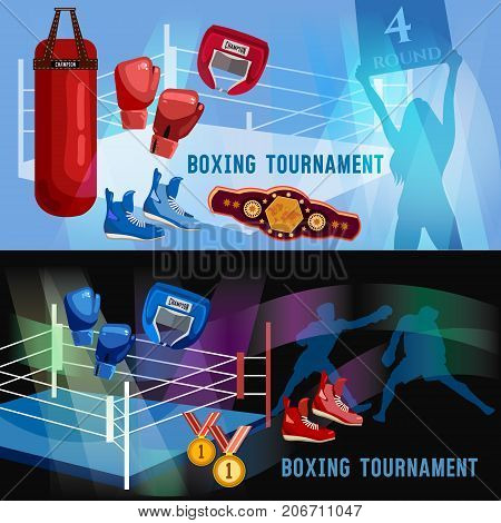 Boxer ring belt punch bags gloves shorts helmet. Boxing sports concept. Boxing banner professional box sport