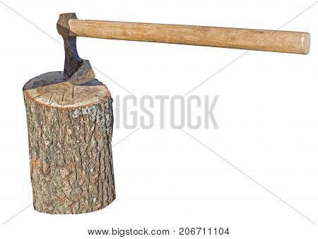 old Ax chopping wood on white background