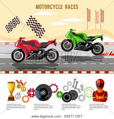 Motorcycle races infographic. Motorcycle racing championship on the racetrack. Moto sport concept vector
