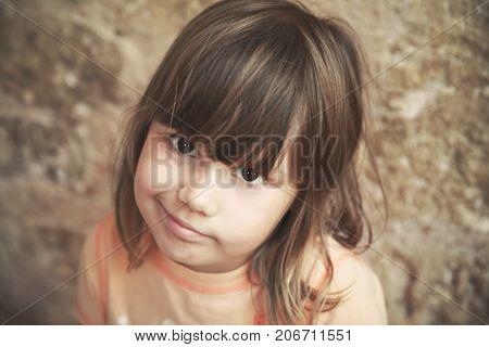 Skeptical Caucasian Little Girl, Close Up