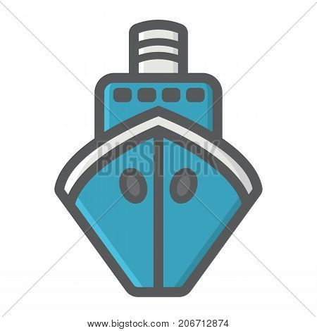 Ship filled outline icon, transport and boat, travel sign vector graphics, a colorful line pattern on a white background, eps 10.