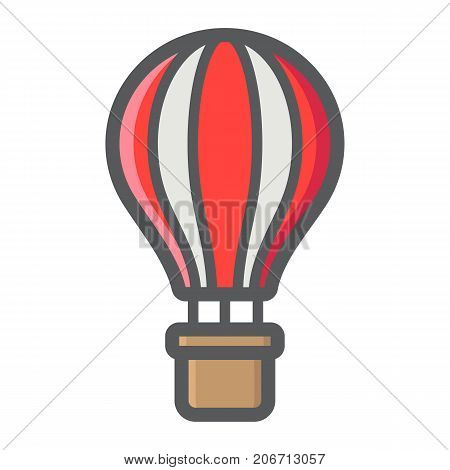 Hot air balloon filled outline icon, transport and air vehicle, travel sign vector graphics, a colorful line pattern on a white background, eps 10.