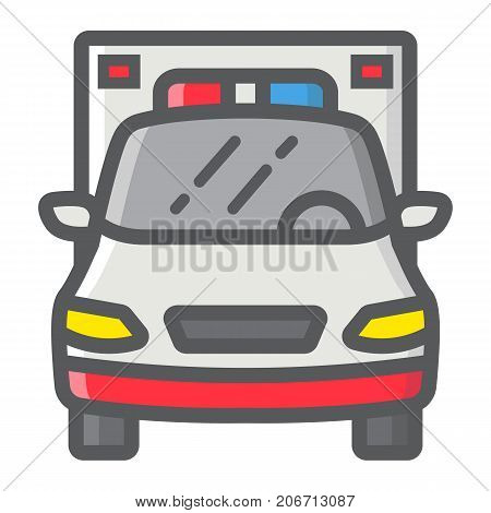 Ambulance filled outline icon, transport and vehicle, emergency sign vector graphics, a colorful line pattern on a white background, eps 10.