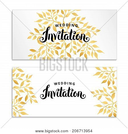 Gold Line Floral invitation. Golden flowers frame for wedding invitation, greeting cards, happy birthday, thank you, menu. Marriage engagement, gold background. Summer magnolia, decor Illustration