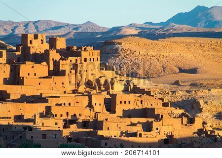 Ait Benhaddou, fortified city, kasbah or ksar, along the former caravan route between Sahara and Marrakesh in present day Morocco. It is situated in Souss Massa Draa on a hill along the Ounila River.