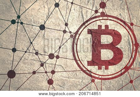 Bitcoin crypto currency sign icon for internet money. Blockchain based secure cryptocurrency. Molecule And Communication Background. Connected lines with dots. Grunge distress texture.