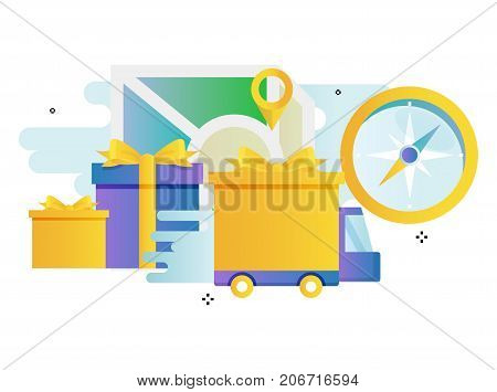 Truck delivery services, transportation, cargo shipment gradient color vector illustration design. Shipping order, fast relocation, delivery tracking design for mobile and web graphics