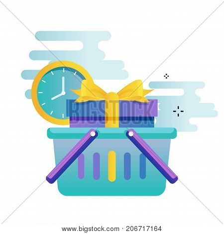 Delivery services, cargo shipment gradient color vector illustration design. Shipping order, fast relocation design for mobile and web graphics