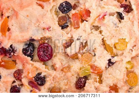 Dough for pie with dried fruits. Photo can be used as a whole background.