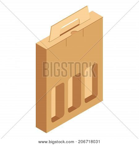 Vector illustration cardboard pack for three bottles of wine isolated on white background. Craft Box for Design Website Background Banner. Folding package vine bottle Template. Alcohol pack for your brand on it. Mockup