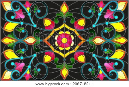 Illustration in stained glass style with abstract swirlsflowers and leaves on a dark backgroundhorizontal orientation