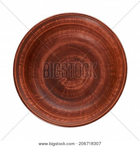 Clay Empty Brown Bowl Isolated On White Background