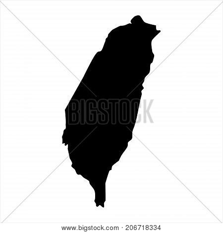 Vector illustration black silhouette of Taiwan map. Taiwanese territory