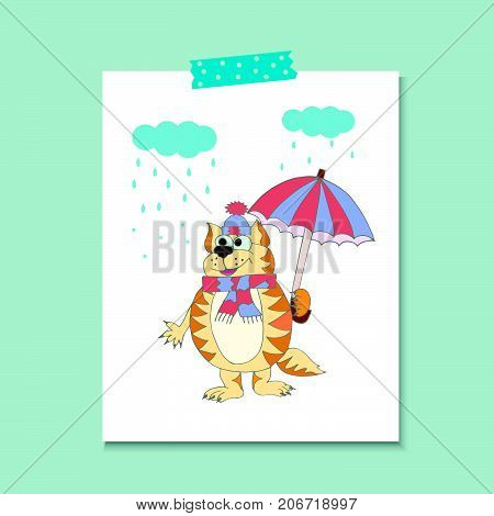 Cute cat with umbrella and scarf under rain. Vector cartoon illustration can be used for baby t-shirt print design baby shower greeting and invitation card.