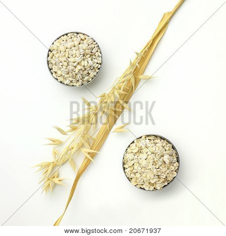 Percent Sign Of Oat Grain And Oat-flakes With Spike