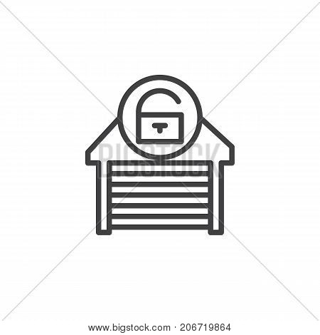 Garage unlocked line icon, outline vector sign, linear style pictogram isolated on white. Symbol, logo illustration. Editable stroke