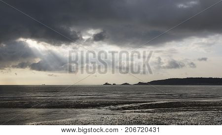 Seascape across Swansea Bay towards Mumbles Lighthouse.