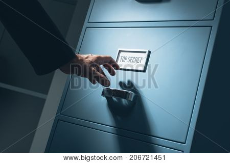 Office Worker Searching Confidential Information