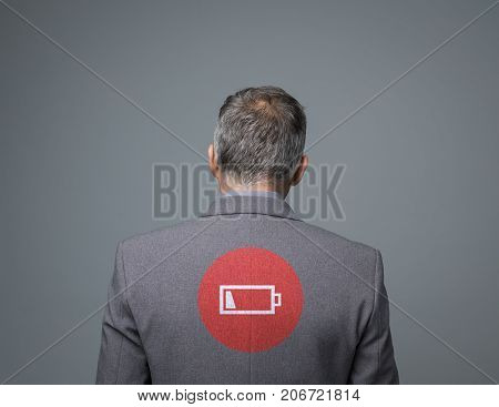 Exhausted Businessman With Low Charge Icon
