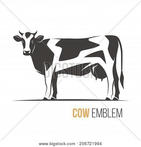 Vector illustration of a stylish spotted holstein cow. Emblem, logo, label design.