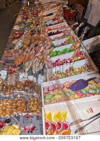 Candies sold by street vendor at town fiesta