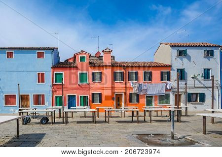 Colorful houses on the famous Burano Island, Venice, Italy