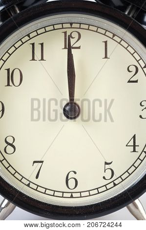 Analog clock telling time at twelve o'clock